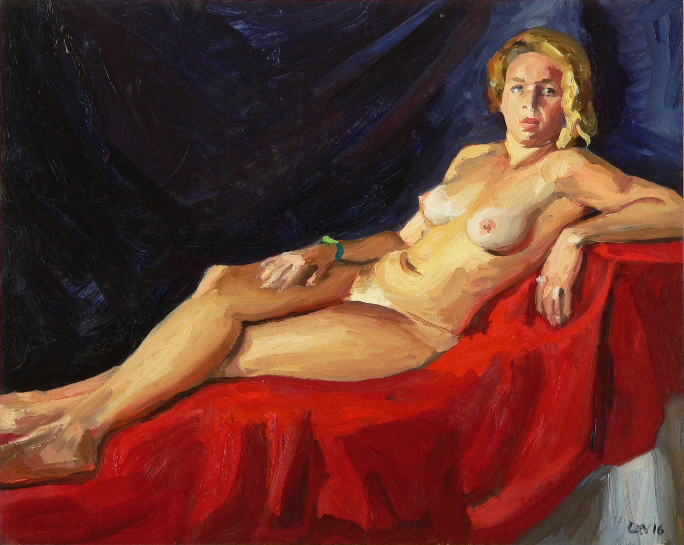 Nude With Red Drape