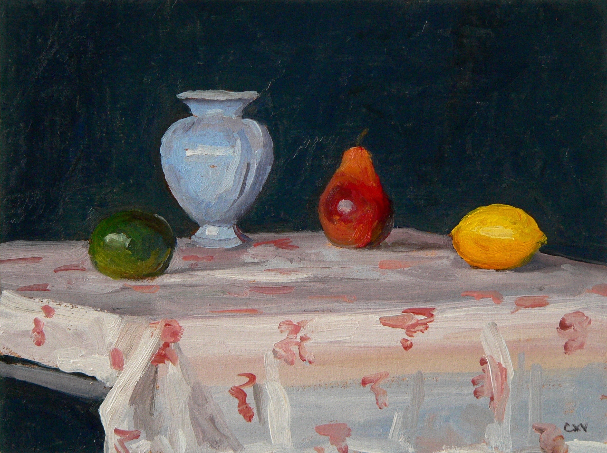 Lemon. Lime,Pear and Vase, o/linen, 9